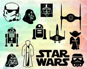Star Wars Svg Files, Star Wars Decal, Star Wars Silhouette, Star Wars Clip Art, Star Wars Vector, Star Wars Png, Svg Cuts, Cricut Downloads