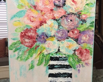 Floral Painting, flower painting, impressionism floral, rose painting, original painting, abstract floral painting,gifts for her