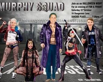 SUICIDE SQUAD HALLOWEEN invitation, Family Anti-hero Halloween invitation, Halloween, customized Photo Halloween, Harley Quinn, Joker,