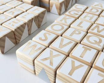 Wooden Alphabet Set - White and Grey