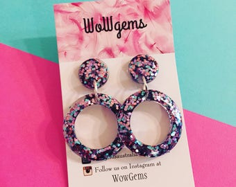 Resin glitter circles with surgical steel earring posts