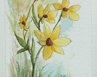 Yellow flowers greeting card/Watercolor Greeting Card/Watercolor flowers/Card and Envelope/Floral greeting card/Yellow flower art