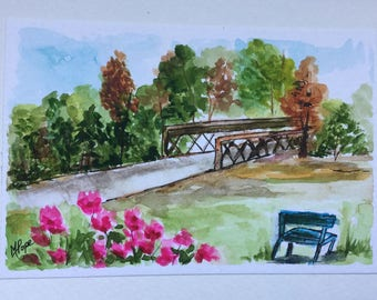 At the Park greeting card/Park bench/Landscape greeting card/ Watercolor Card/5 x 7 greeting card//Card and envelope