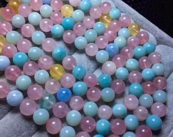 "15.5"" inch Round Pink Morganite  Beads, Natural Gemstone Beads, Pink Morganite Beads 10mm Jewelry Supplies Jewelry DIY"