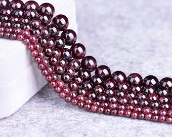 "15.5"" inch Round Garnet  Beads, Natural Gemstone Beads, Garnet Beads 4mm 5mm 6mm 7mm 8mm 10mm Jewelry Supplies Jewelry DIY"