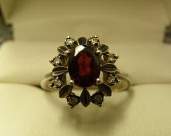 Antique Garnet & Diamonds Sterling Silver Ring- Size 8 1/2