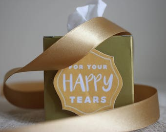 Gold Happy Tears Wedding Favours Tissues