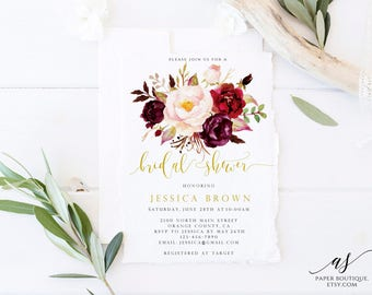Marsala Burgundy Bridal Shower Invitation Boho Bridal Shower Invitation PDF Template Printable  Floral Bridal Shower Invitation ASB01