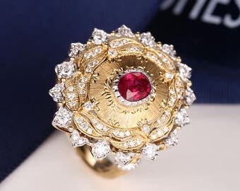 Vintage Engagement Ring Art Deco Engagement Ring Antique oval Ruby brushed yellow Gold Unique diamond Wedding Dainty Pigeon blood red