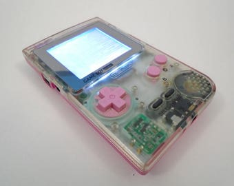 Game Boy Pocket - Clear/Pink - White Back-light, Biverted, Internal Pro-Sound + Extras!