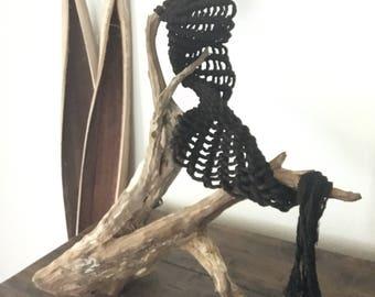 Macrame, Table top decor, Fiber art, Small macrame, Wood Decor, Driftwood, Fiber Sculpture