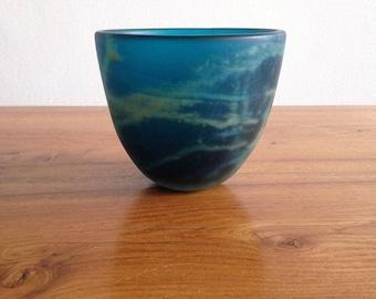 Vase / Organizer / cut - glass paste - signed Mdina / Malta
