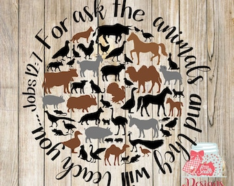 Ask the Animals -horses -Jobs 12:7 -SVG, Silhouette studio and png bundle