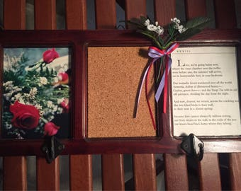 Romantic, artsy red rose wall organizer with hooks for keys - cork board for notes - and a Pablo Neruda love poem for you to ponder.