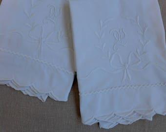 "Pair of Vintage Cotton Embroidered Pillowcases - ""P"" Monogram - 21"" x 32"""
