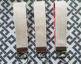 Cotton & Canvas Key Fob - Pop of Colour - Key Ring - Key Chain - Key Holder