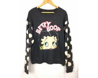 BETTY BOOP by Forever 21 Long Sleeve Sweatshirt Pullover Large Size Sweatshirt