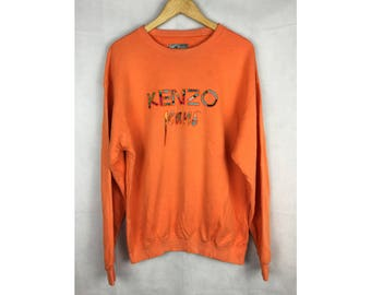 KENZO JEANS Long Sleeve Sweatshirt With Big Spell Out Embroidery Logo Large Size Sweatshirt