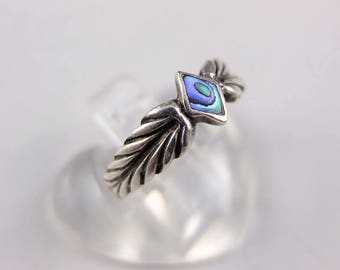 Vintage Silver Abalone Ring - Sterling Silver Ring Set With Abalone, Vintage Silver Ring, Vintage Abalone Ring, 925