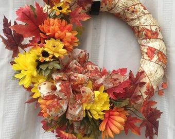 Artificial wreath, straw wreath, autumn wreath, fall wreath, front door wreath, chrysanthemums