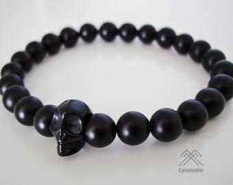 Matte Black Onyx skull bracelet for