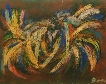 Pierre Bosco (FR-1909-1993) Pastel - Cockfight