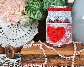 Heart Mason Jar,Mason Jar Decor,Mason Jar Centerpiece,Lace Mason Jar,Bridal Shower,Table Centerpiece,Bridal Gift,Bridal Decor,Vintage Decor