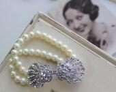 Art Deco Bracelet  Vintage style pearl bracelet   Gatsby bracelet  Wedding bracelet  Great Gatsby jewellery