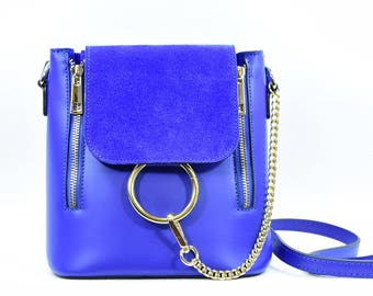 Electric Blue Italian Leather Purse with Gold Ring Detail