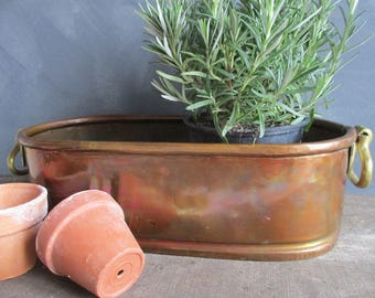 Copper jardinaire.French copper.Antique copper.Vintage copper planter.Garden antiques.Gift for gardener.French country.Shabby chic.Gift idea