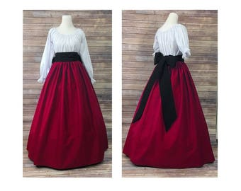 Size 2XL-Complete Outfit-Skirt, Blouse and Sash-Red Renaissance Civil War Victorian Southern Belle LARP Medieval Pioneer Dress Costume