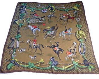 "Scarf Silk Horses Race 30s Foulard VINTAGE 30""x30"" Made in Switzerland"