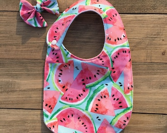 Watermelon Harper Snap Bib