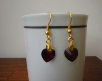 siam red gold earrings
