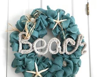 Ocean blue beach burlap