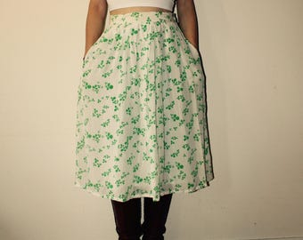 Vintage midi skirt with clover print