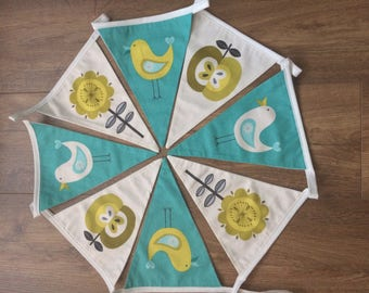 Teal and white bunting with patterns