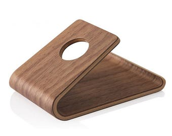 Universal Wooden iPhone Holder Smartphone Stand /Portable Cell Phone Stand - Solid Walnut Wood