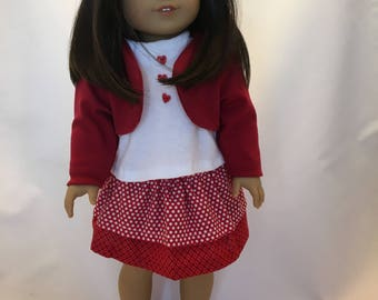 18 inch doll clothes; 3 pc. outfit; skirt, top, and jacket