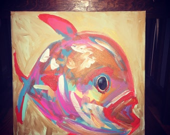 Bright original acrylic canvas painting Fish 20x20