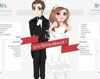 Custom Bride & Groom / Wedding Announcement / Bride Groom Infographic / Social Media Announcement / Save the Date / Custom Illustration