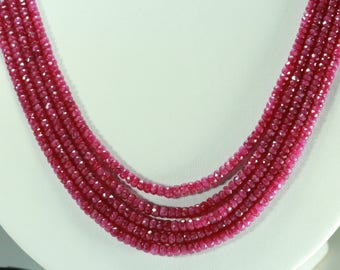 100% Natural Ruby Beads Ruby red Color 3.5 Mm - 5 MM. 5 Strands Neckalce.