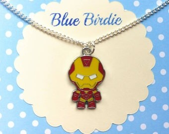 Cute iron man necklace iron man jewelry iron man jewellery iron man gifts avengers gifts enamel pendant necklace baby iron-man