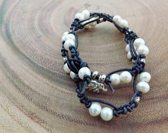 White Pearl Leather Macrame Wrap Bracelet with Elephant Charm
