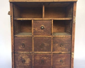 Bank Of 11 Antique Haberdashery Drawers/Cubby Holes