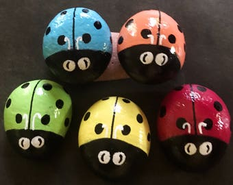 Set: Five Tiny Colorful Ladybug Garden Stone Painted Rocks