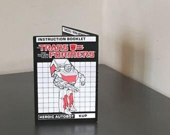 Vintage 90's Transformers Instruction Booklet Heroic Autobot Kup