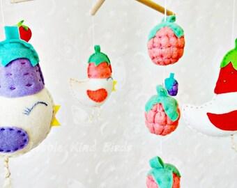Baby mobile Summer berries Nursery decor Felt mobile Exclusive mobile Kids decor Birds mobile Baby crib mobile Ceiling mobile Newborn gift