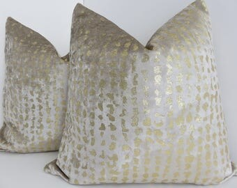 P/Kaufmann Fabrics- Steath Gold Pillow Cover- Metallic Pillow Cover- Gold Velvet Pillow - Gold Metallic Velvet Pillow- Accent Pillow
