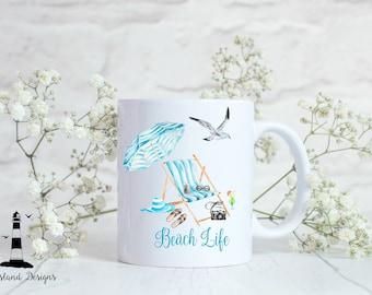Beach Life Custom Coffee Mug, Beach Life Personalized Coffee Mug, Beach Life Mug, Beach Coffee Mug, Personalized Coffee Mug, Summer Mug,